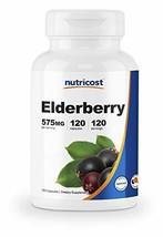 Nutricost Elderberry Capsules 575mg 120 Capsules - Veggie Capsules, Gluten Free