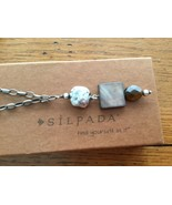 Silpada Oxidized Sterling Silver Tigers Eye MOP Pendant Chain Necklace N... - $28.66