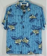 Caribbean Joe Mens XL Short Sleeve Hawaiian Shirt Blue Bamboo Floral 100... - $32.73