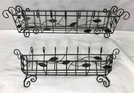 2 Wall Shelf Rustic Basket Metal Wire & Leaves Storage Racks Country Decor  - $48.37