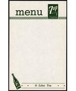 Vintage menu 7UP with bottle It Likes You slogan unused new old stock n-... - $8.09