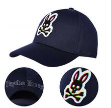 Psycho Bunny Men's Cotton Embroidered Holloway Navy Baseball Cap Strapback Hat