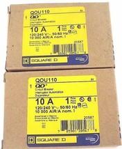 LOT OF 2 NIB SQUARE D, QOU110 CIRCUIT BREAKER 10A, 1POLE, 120/240V, 50/60HZ