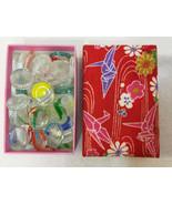 Ohajiki Glass Pieces in Storage Box Origami Padded Fabric 59 Pc Flat Mar... - $98.01
