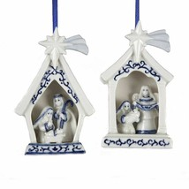 KURT ADLER SET OF 2 PORCELAIN DELFT BLUE HOLY FAMILY NATIVITY XMAS ORNAM... - $18.88
