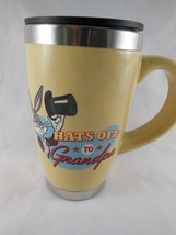 Hallmark Hats off to Grandpa Bugs Bunny Mug Lg Porcelain Stainless Steel w Lid - $6.92