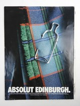 1995 Absolut Edinburgh Paper Vodka Advertisement Cover page thick paper ... - $11.29