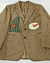 Tailored Classics Levi Strauss 100% Wool Blazer 40S Snowman Christmas Em... - $43.40