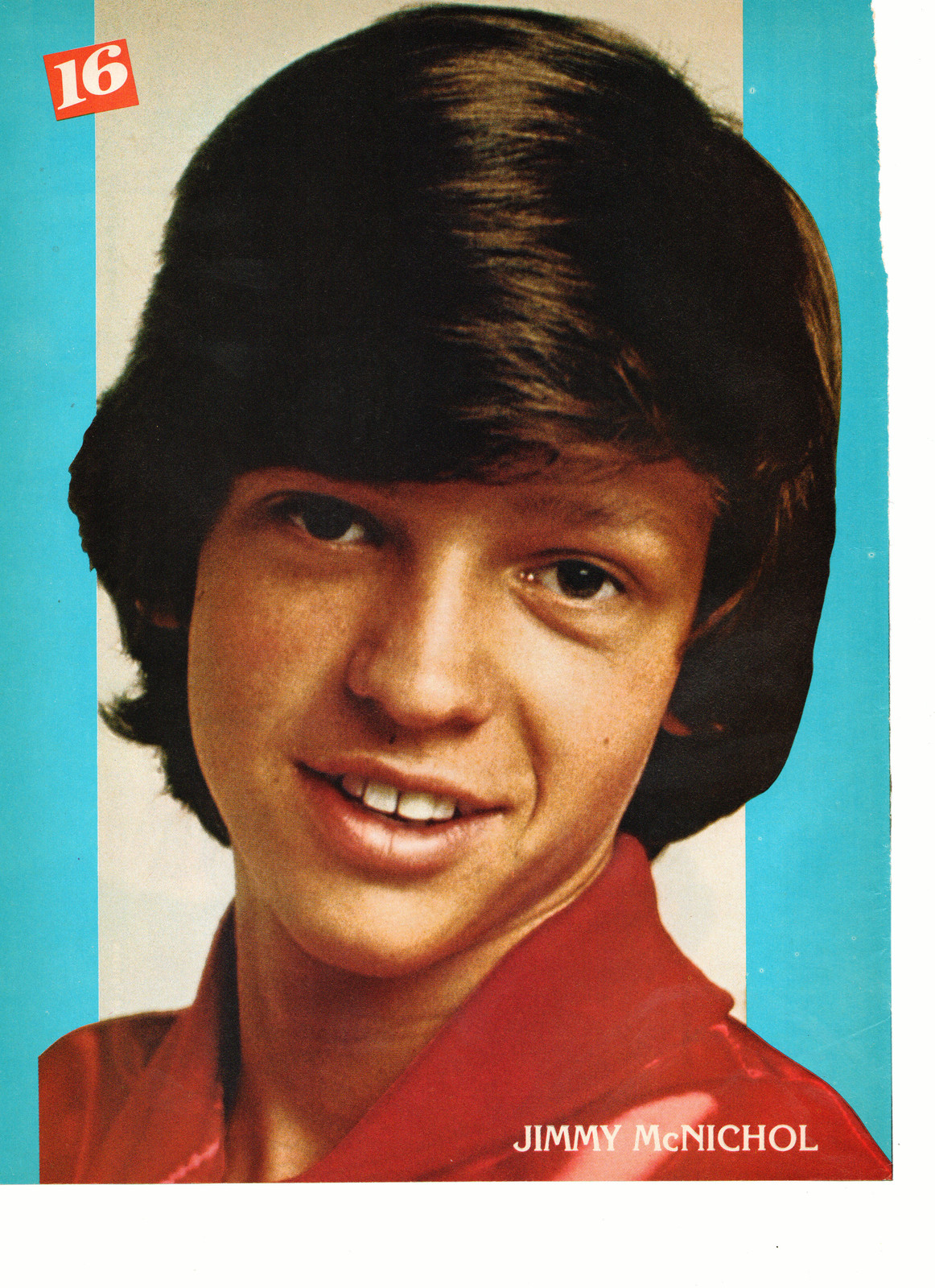 Jimmy Mcnichol teen magazine pinup clipping close up red shirt confused