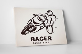 "Racer Biker Club Motorcycle Art Gallery Wrapped Canvas Print. 30""x20 or ... - $42.52+"