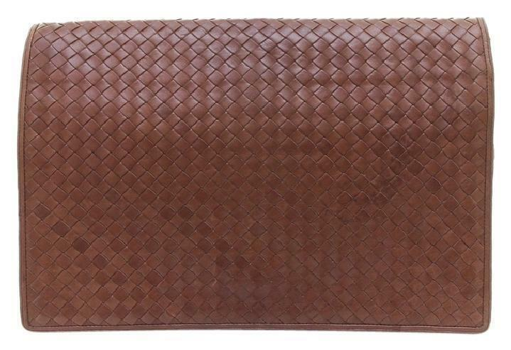 Primary image for Bottega Veneta Brown Leather Portfolio Briefcase Clutch Bag