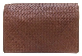 Bottega Veneta Brown Leather Portfolio Briefcase Clutch Bag - $451.25