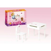 "2-pc My Life as 18"" Doll White WOOD Student DESK+CHAIR SET for American Girl Boy - $48.99"