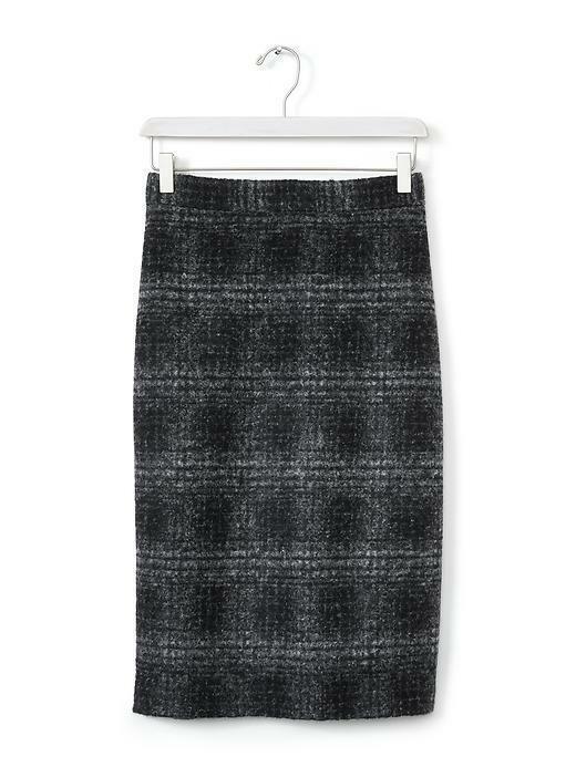 Banana Republic Plaid Pencil Skirt, Gray/black, Wool Blend, Size 12, NWT image 6