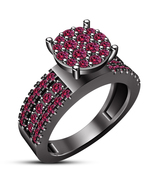 Women's Engagement Ring 14k Black Gold Finish 925 Silver Round Cut Pink ... - $86.22