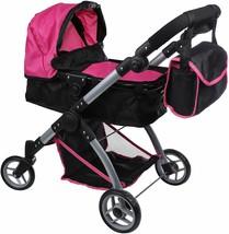 Baby Doll Stroller Pram Swiveling Wheels Adjustable Handle Basket Diaper... - $65.80