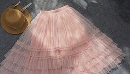 Pink Tiered Tulle Midi Skirt Pink Princess Tulle Tutu Midi Skirt Outfit Wedding  image 6