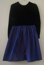 Lanz  Midnight Blue Rayon Velvet Taffeta Girls Dress - $24.75