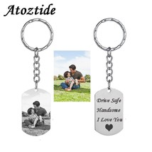 Atoztide Customized Stainless Steel Heart Keychain Personalized Silver C... - $12.00