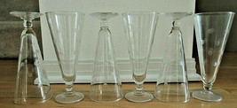 Anchor Hocking Frosted Coin Dot Etched 6 Pilsner 9 oz Clear Glass Footed... - $64.99