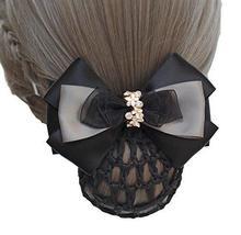 Black Series Hair Net Bowknot Hair Clips Hair Accessories 2 pieces, NO.005 - $329,33 MXN
