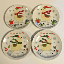 "Llama's Llama Christmas Ceramic Tidbit Appetizer Plates 2 Designs 6"" Set... - $43.02"