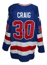 Custom Name # Team USA Retro Hockey Jersey New Blue Craig #30 Any Size image 4