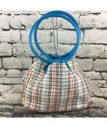 "Calvin Klein Purse Multi Color Woven Shell Hard Handled Hand Bag 8""X9""X4"" - $19.79"