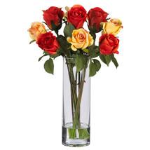 Roses w/Glass Vase Silk Flower Arrangement - $63.79