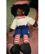 "BLACK AFRICAN AMERICAN RAGGEDY ANDY DOLL HANDMADE CLOTH 18"" CLEAN - £11.47 GBP"