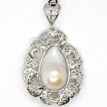 Pendentif en Argent 925, Perle Barocca avec Cadre, Fleur, Fabriqué en Italie image 1