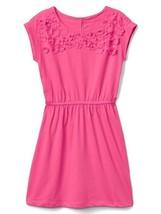 Gap Kids Girl Dress 8 Pink Jersey Applique Floral Cap Sleeve Elastic Waist - $19.99