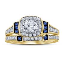 Womens Designer Wedding Bridal Ring Set 14k Gold Finish 925 Sterling Rea... - $98.99