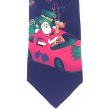Hallmark Christmas Tie Santa & Reindeer Sports Car Black w/Graphic 100% ... - $24.14