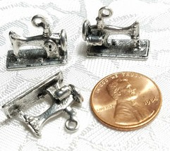SEWING MACHINE FINE PEWTER PENDANT CHARM - 19x16x8mm image 2