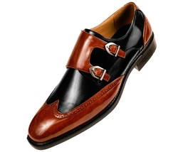 Maroon Black Made To Order Men Wing Tip Double Buckle Strap Monk Stylish Shoes - $139.90+