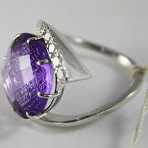18K WHITE GOLD RING DIAMONDS ct0.38 AMETHYST ct11.50 AMAZING CUT, MADE IN ITALY image 4