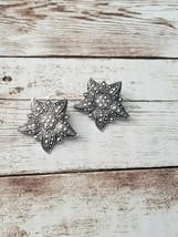 Vintage Clip On Earrings Silver Tone & Marcasite Flower - $11.99