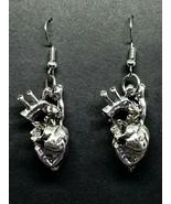 Anatomical Heart Earrings Silver Tone Biology Human Alternative Valentine - $6.31
