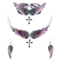 Women's Angel Wing Cross Necklace Earrings Bracelet Set image 10