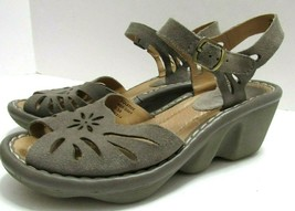 Earth Solstice Womens 7.5  Ash Grey Suede Leather Wedge Comfort Sandals ... - $48.50
