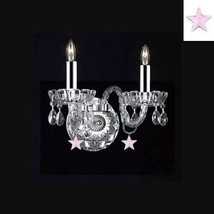 Murano Venetian Style Empress Crystal(TM) Wall Sconce w/Chrome Sleeves! - $98.97