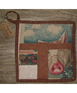 Wool lined cotton Pot Holder, Pig & Farm Animals hot pad, Handmade by Laura Mae - $8.00