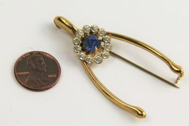 ESTATE VINTAGE Jewelry FIGURAL RHINESTONE ACCENT WISHBONE LUCK BROOCH - $10.00