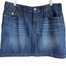 Ann Taylor LOFT Women Blue Jean Mini Skirt Size 8 Dark Wash Five Pocket ... - $38.60