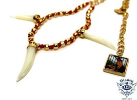 DISNEY COUTURE THE PRINCESS & THE FROG 14KT GP BEADS TIGER TEETH NECKLAC... - $43.20