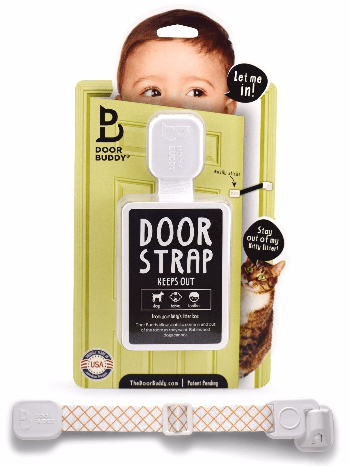 Door Buddy® Child Proof Door Latch | Keeps Baby Out | Lets Cats In (Caramel)