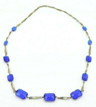 Blue Plastic Rhinestone Graduated Chain Link Art Deco Style Necklace .92... - $29.69