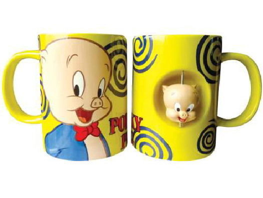 Primary image for Looney Tunes Porky Pig Figure Ceramic Spinner Coffee Mug, NEW UNUSED