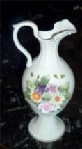 Vintage Lefton Hand Painted Roses Floral Footed Pedestal Pitcher Vase Japan - $21.38
